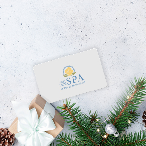 Spa gift card and a gift box and Christmas tree branches